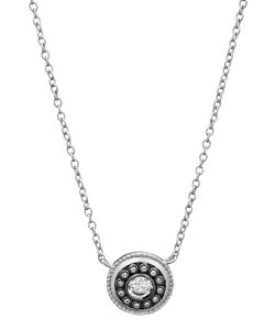 Belargo  - Round Silver Studded Disk Pendant Necklace