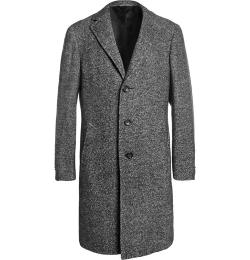 Canali   - Kei Unstructured Herringbone Wool-blend Overcoat