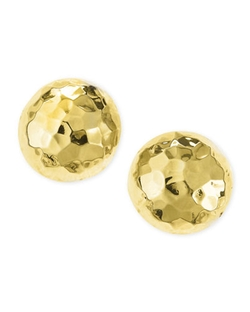 Nest Jewelry - Post Hammered Gold-Plated Half-Ball Stud Earrings