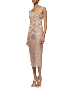 Jenny Packham  - Beaded Fishscale Illusion Cocktail Dress