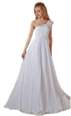 Esy - One Shoulder Ruffle Pleated Wedding Dress