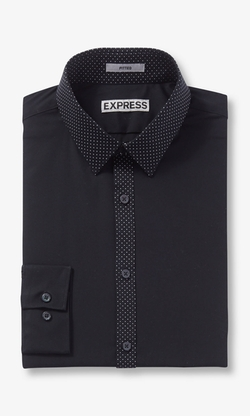Express - Fitted Micro Dot Trim Going Out Shirt