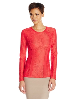BCBGMaxazria - Mikayla Lace Slong Sleeve Top