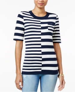 Tommy Hilfiger  - Striped Elbow-Sleeve Sweater