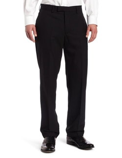 Louis Raphael  - Solid-Colored Modern-Fit Flat-Front Dress Pant