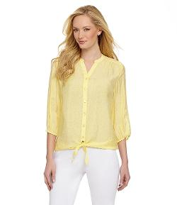 Westbound  - Pintucked Tie-Front Blouse