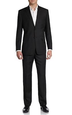 Saks Fifth Avenue Black - Solid Wool/Silk Suit