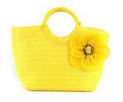 The Bling Thing  - Yellow Straw Tote Bag Handbag
