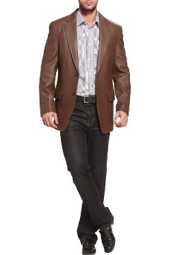 "BGSD  - ""Grant"" Two-Button Leather Blazer"
