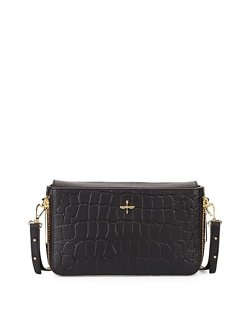 Pour la Victoire  - Yves Croc-Embossed Leather Zip Clutch Bag