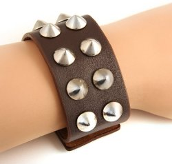 Jewelry Volt  - Brown Leather Punk Bracelet