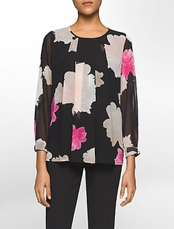 Calvin Klein - Peony Print Long-Sleeve Top