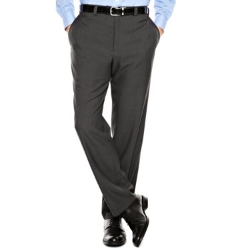 Haggar - Classic-Fit Flat-Front Stria Dress Pants