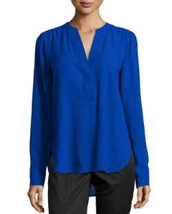 Vince - Half-Placket Long-Sleeve Blouse