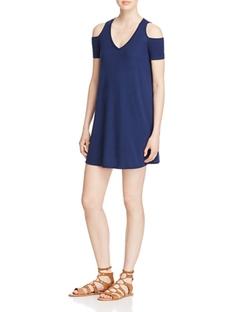 Aqua  - Ribbed Cold Shoulder Swing Dress
