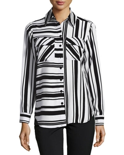 Neiman Marcus - Multi-Stripe Long-Sleeve Blouse