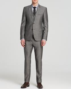 Hugo - Textured Solid Three-Piece Suit