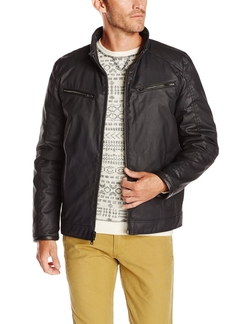 Vince Camuto -  Coated-Cotton Moto Jacket