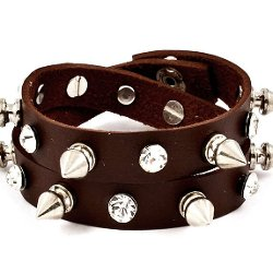 Joji Boutique  - Bejeweled Studded Dark Brown Double-Wrap Bracelet