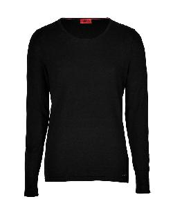 Hugo - Cotton-Silk-Cashmere Sabinus Pullover in Black