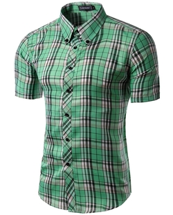 Mada  - Short Sleeve Shirt Casual Plaid Shirts