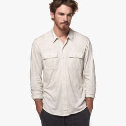 James Perse - Melange Jersey Button Down Shirt