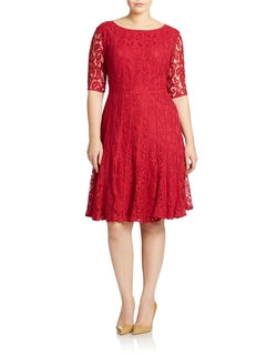 Adrianna Papell -  Plus Fit-And-Flare Lace Dress