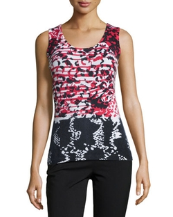 Neiman Marcus Cashmere Collection	 - Mosaic-Print Cashmere Tank Top