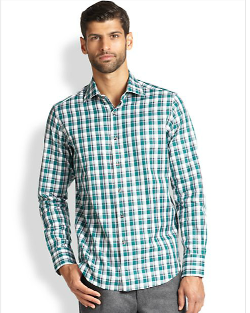 Saks Fifth Avenue Collection  - Plaid Cotton Sportshirt