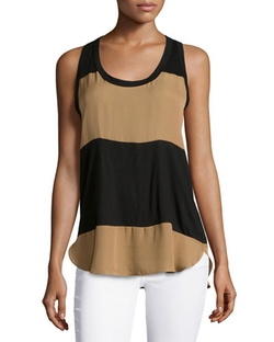Haute Hippie - Low-Armhole Colorblock Tank Top