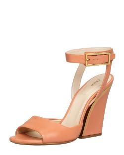 Chloe   - Thick-Heeled Ankle-Wrap Sandal
