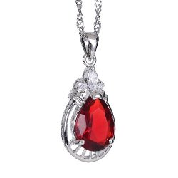 Rizilia - White Gold Pear Cut Stone Necklace