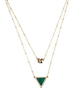 White House Black Market - Golden Jade Double Pendant Necklace
