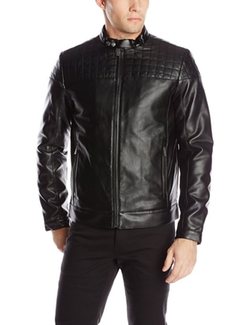 Calvin Klein - Quilted Yoke Faux-Leather Moto Jacket