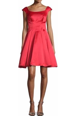 Zac Posen - Cap-Sleeve Satin Fit & Flare Dress