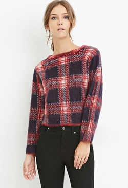 Forever21 - Fuzzy Plaid Sweater