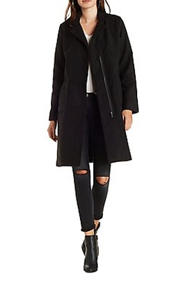 Charlotte Russe - Longline Wool-Blend Trench Coat