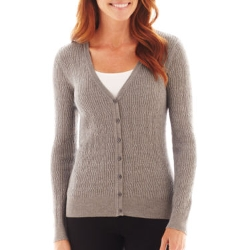 Liz Claiborne - Long-Sleeve Cable Cardigan Sweater