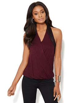 New York & Company - Lace-Trim Wrap Top