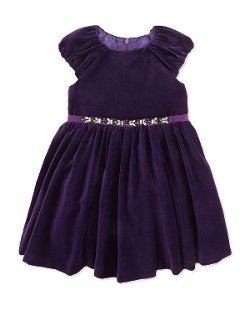 David Charles   - Jeweled Waist Velvet Dress