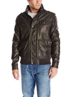 IZOD - Faux Leather Four Pocket Bomber Jacket
