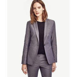 Ann Taylor - Sharkskin Single Button Blazer