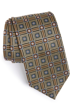 J.Z. Richards - Geometric Medallion Woven Silk Tie