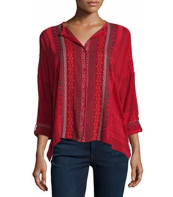 Johnny Was Collection - Melvin Embroidered Button-Front Tunic