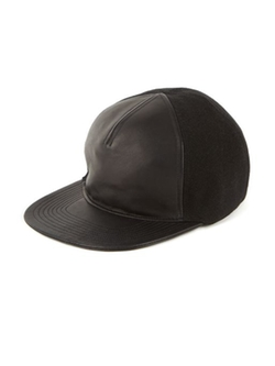 Balmain  - Leather & Canvas Baseball Cap