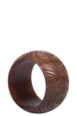 Boohoo - Engraved Floral Wooden Bangle Bracelet