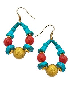 Minu Jewels  - Gold Turquoise And Coral Hoop Earrings