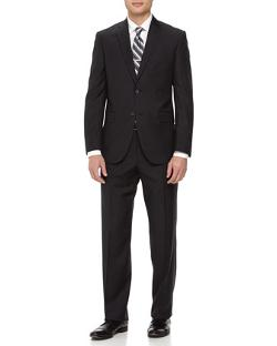 Neiman Marcus  - Two-Piece Striped Wool Suit, Black