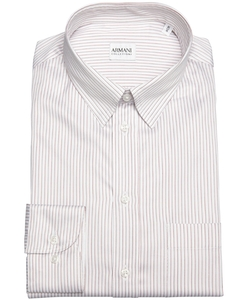 Armani - Red Striped Cotton Point Collar Dress Shirt