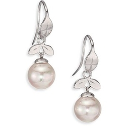 Majorica - Sterling Silver Leaf Drop Earrings